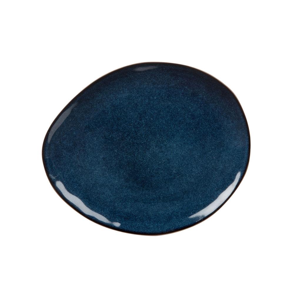 Dessertteller aus Steinzeug, blau
