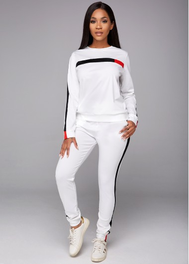 Long Sleeve Contrast Round Neck Top and Pants - M