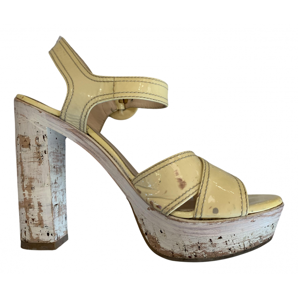 Prada N Yellow Patent leather Sandals for Women 37 EU
