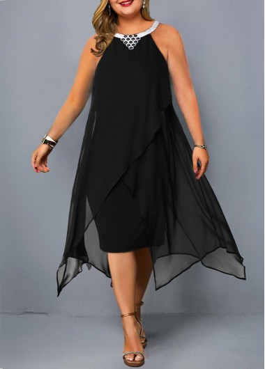 Asymmetric Hem Embellished Neck Plus Size Chiffon Dress - 2X