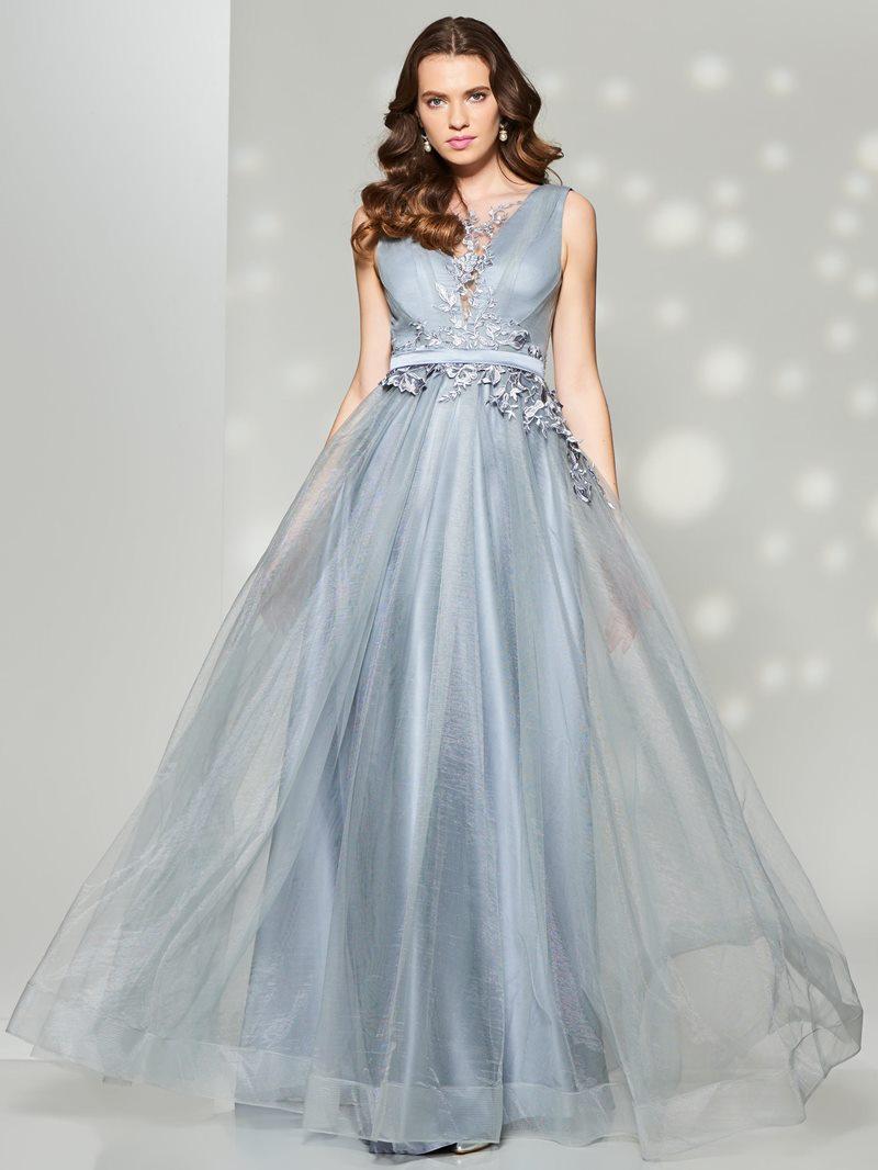 Ericdress Elegant A Line Lace Applique Sleeveless Deep Back Prom Dress