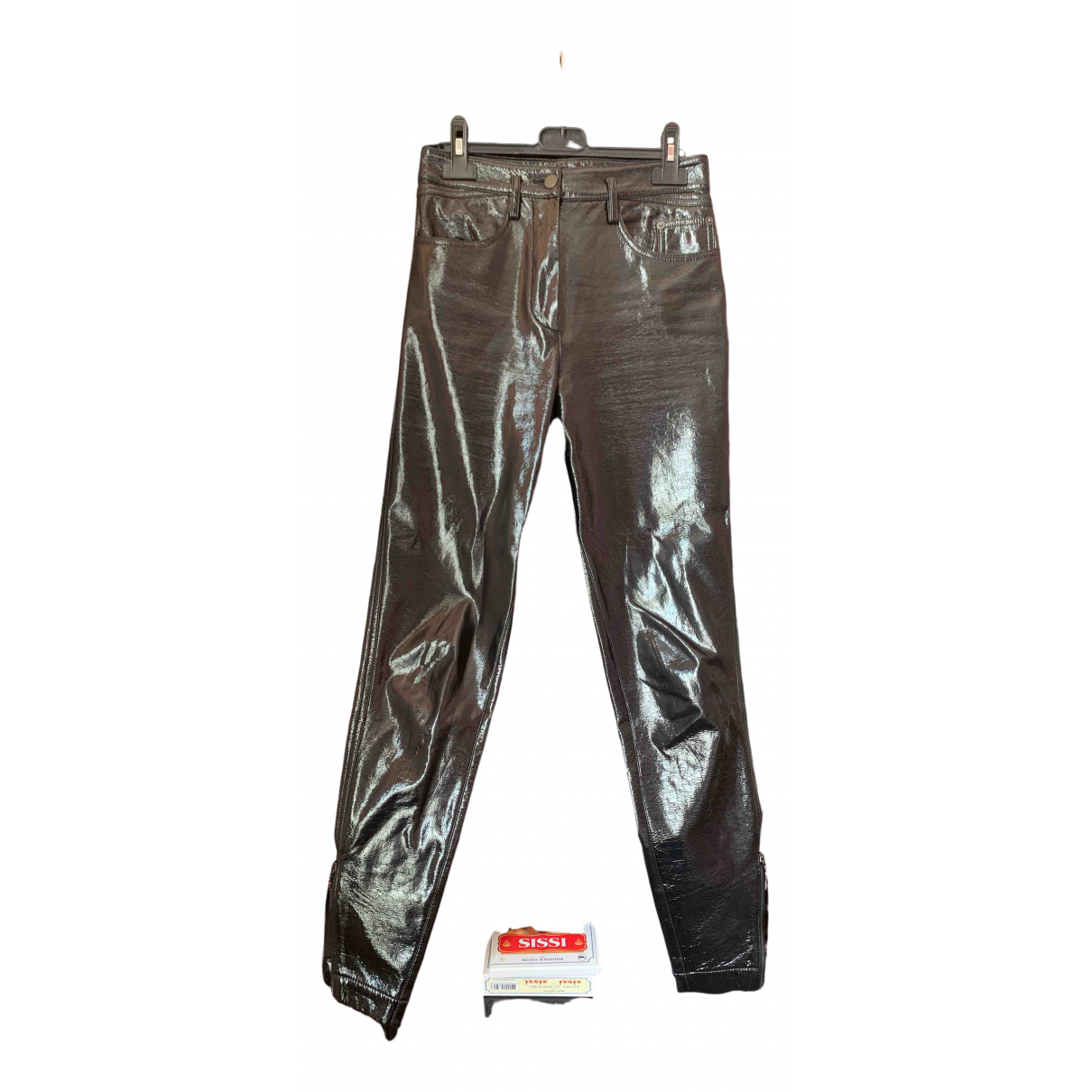 Louis Vuitton \N Black Leather Trousers for Women 36 FR