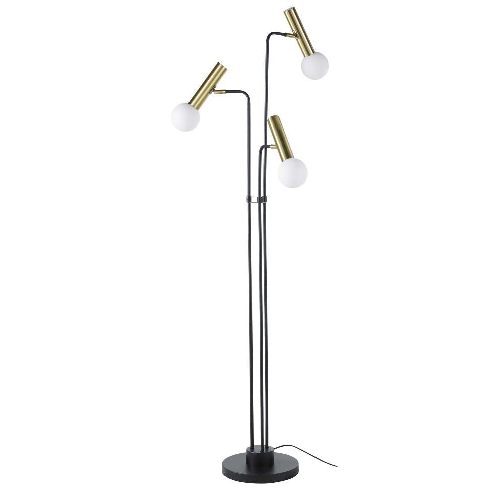 Dreiteilige Stehlampe aus Metall, schwarz und goldfarben H165