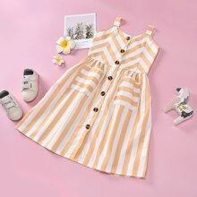 Cami Kleid mit Streifen und doppelten Taschen