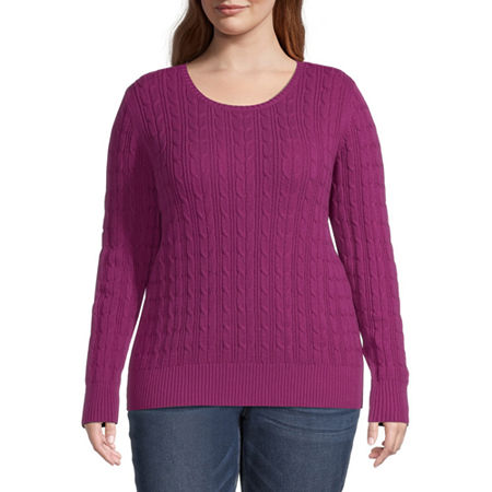 St. John's Bay-Plus Cable Womens Crew Neck Long Sleeve Pullover Sweater, 3x , Pink