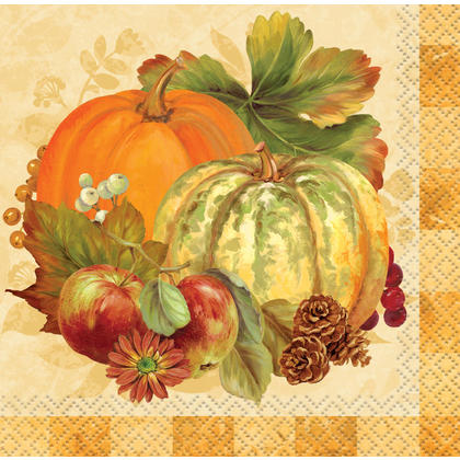 Pumpkin Harvest Fall Beverage Napkins, 5