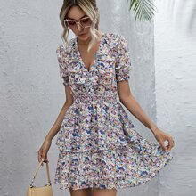 Plunging Neck Shirred Waist Ruffle Trim Ditsy Floral Dress