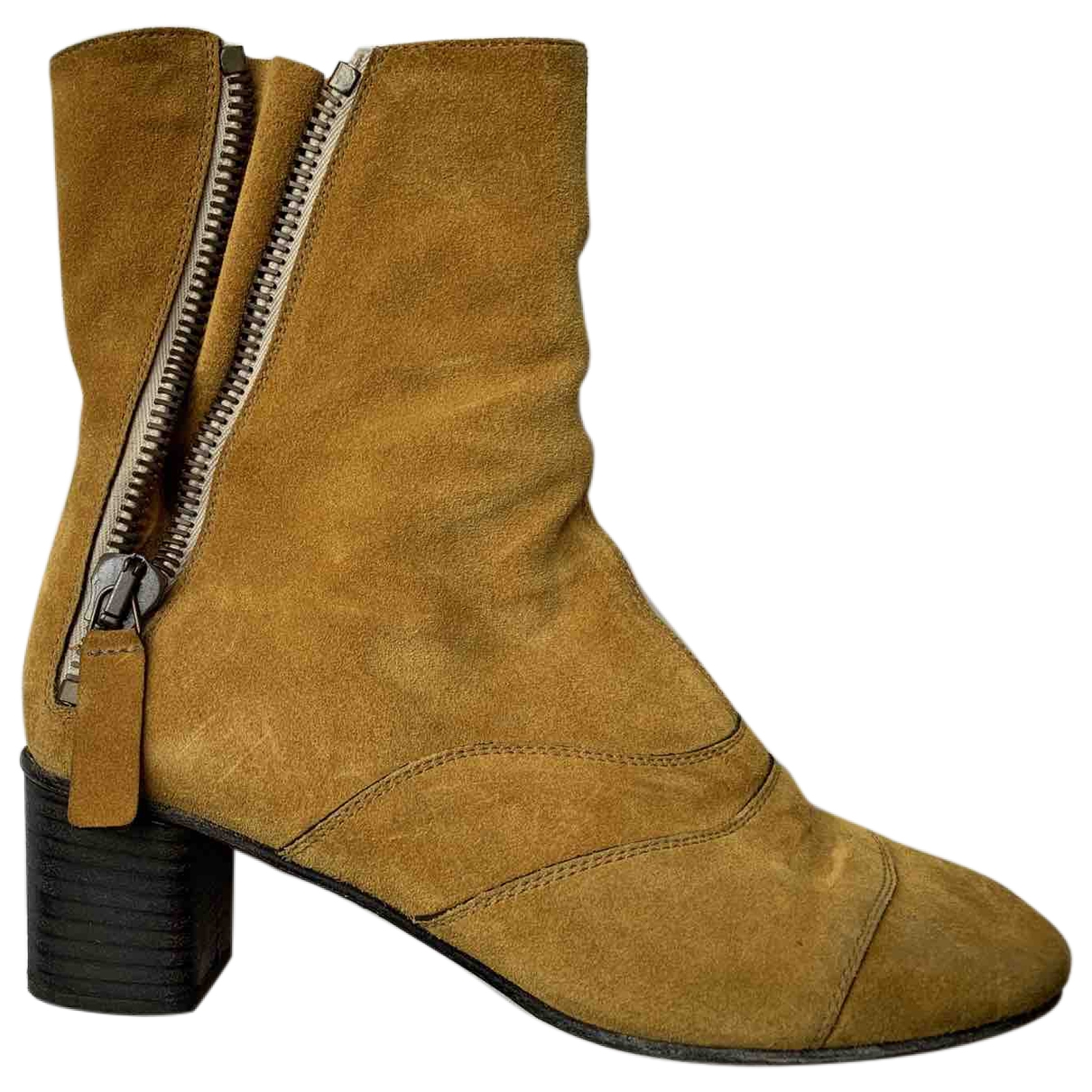 Chloé Lexie Yellow Suede Ankle boots for Women 37 EU