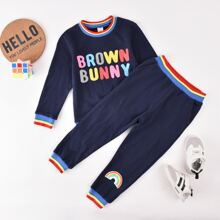 Toddler Boys Letter Graphic Colorful Striped Sweatshirt & Sweatpants