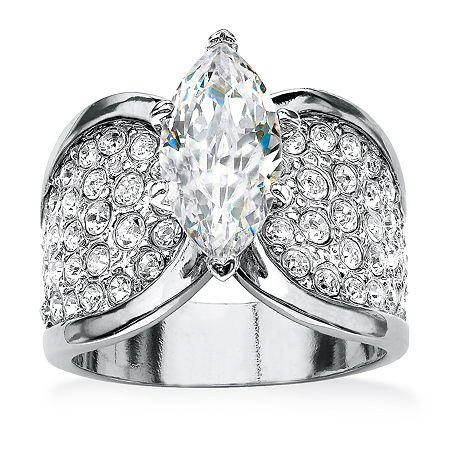 Womens 2 1/2 CT. T.W. White Cubic Zirconia Platinum Over Silver Engagement Ring, 9 , No Color Family