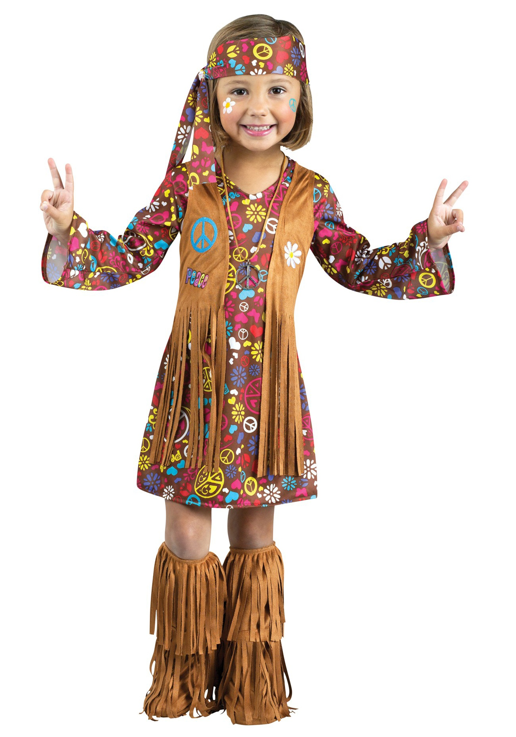 Girls Toddler Peace & Love Hippie Costume