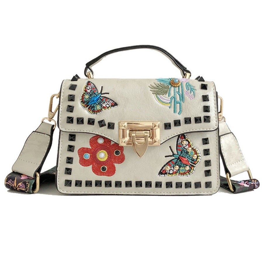 LW lovely Chic Butterfly Embroidered White Crossbody Bag