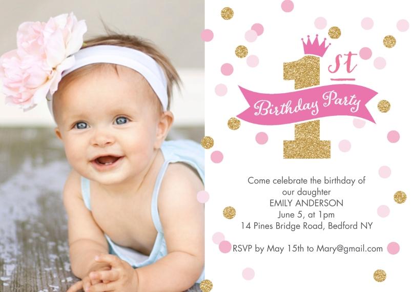 1st Birthday Invitations 5x7 Cards, Premium Cardstock 120lb, Card & Stationery -Birthday Invite First Confetti 1 Photo