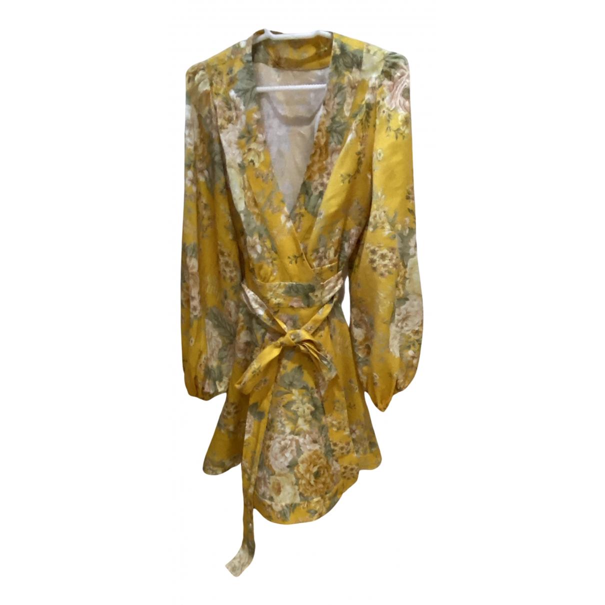 Zimmermann \N Kleid in  Gelb Leinen