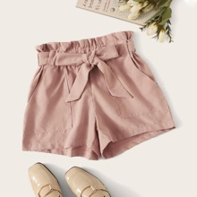 Belted High-Rise Paperbag Waist Shorts