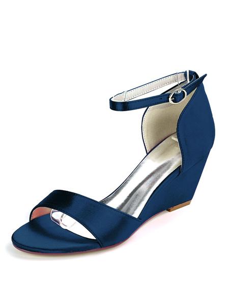 Milanoo Wedding Shoes Deep Purple Satin Buckle Open Toe Wedge Heel Bridal Shoes