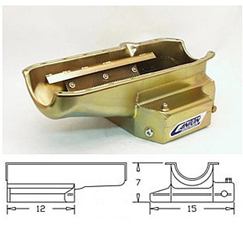 Canton Racing SBC 12-Inch Long Sump CT PAN RH Dipstick