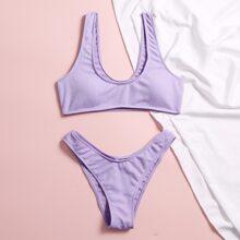 Gerippter Bikini Badeanzug mit hohem Ausschnitt