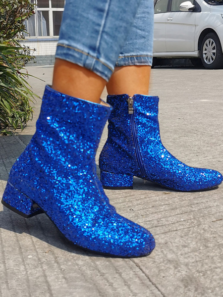 Milanoo Women Ankle Boots Sequined Cloth Round Toe Zip Up Ankle Boots