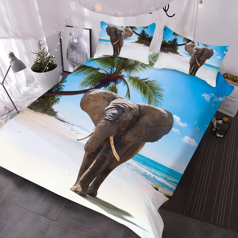 3D Elephant on Beach Lightweight Warm Soft Machine Washable 3Pcs Bedding Down Comforter Insert with 2 Pillow Cases