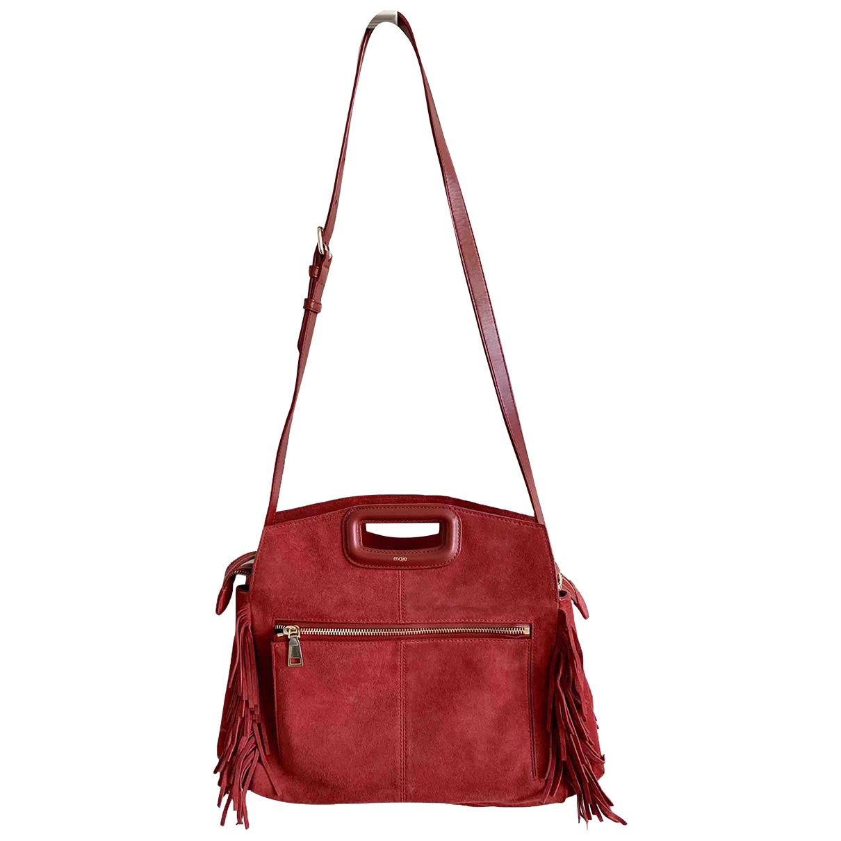 Maje Sac M Red Suede handbag for Women \N