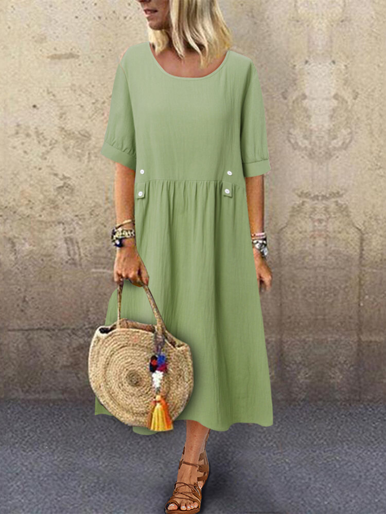 Casual Solid Color Short Sleeve Plus Size Dress