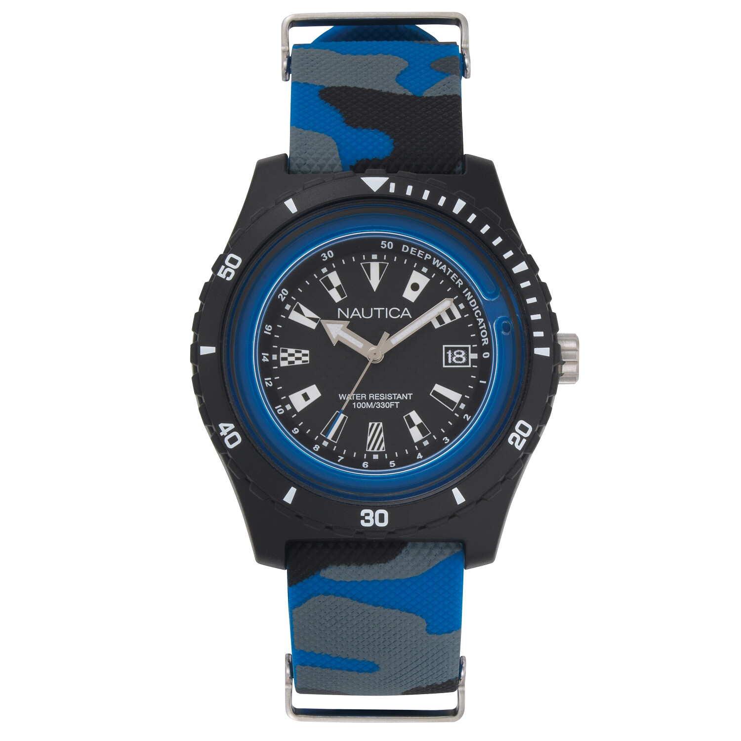 Nautica Watch NAPSRF009 Surfside, Analog, Water Resistant, Deep Water Indicator, Calendar, Signal Flag Indexes, Camo Silicone Strap, Black