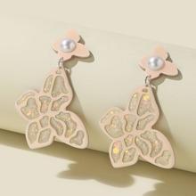 Ohrringe mit Kunstperlen und Schmetterling Dekor
