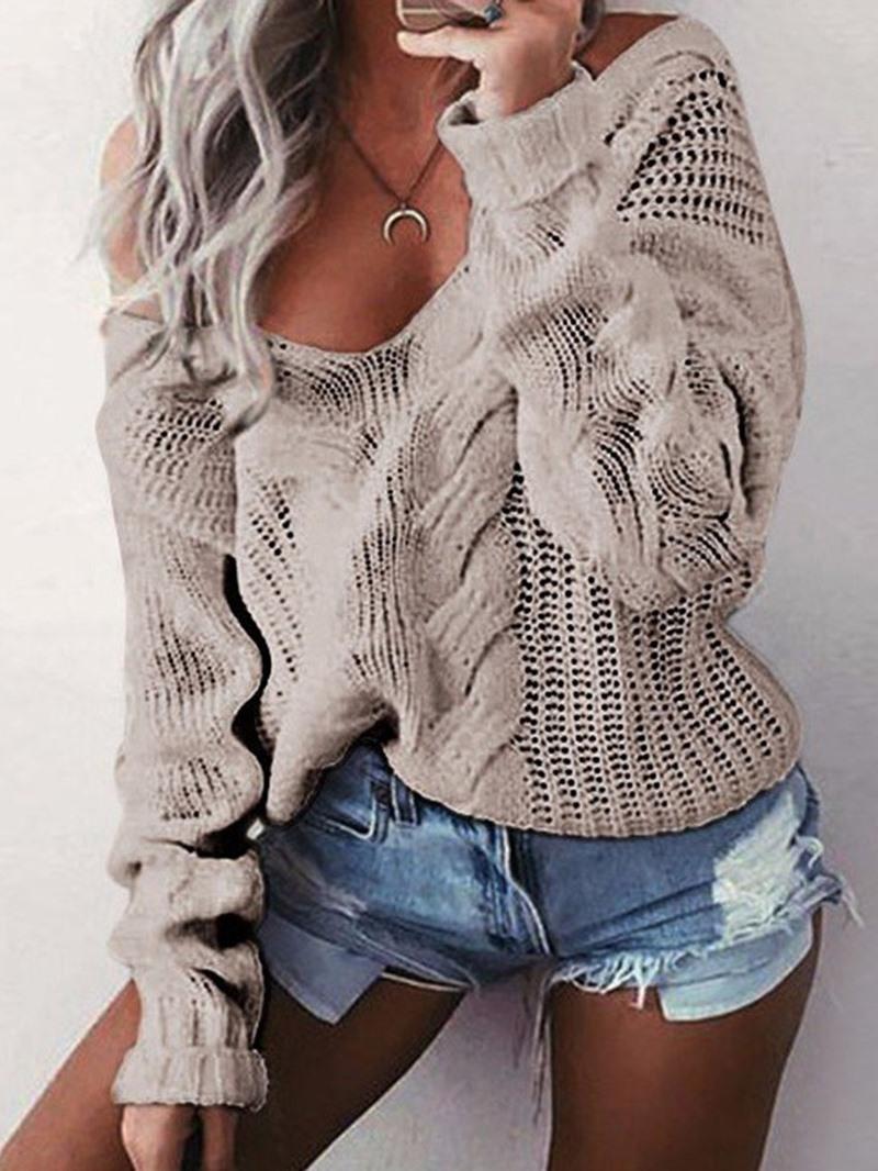 Ericdress Thick Regular Loose V-Neck Sweater