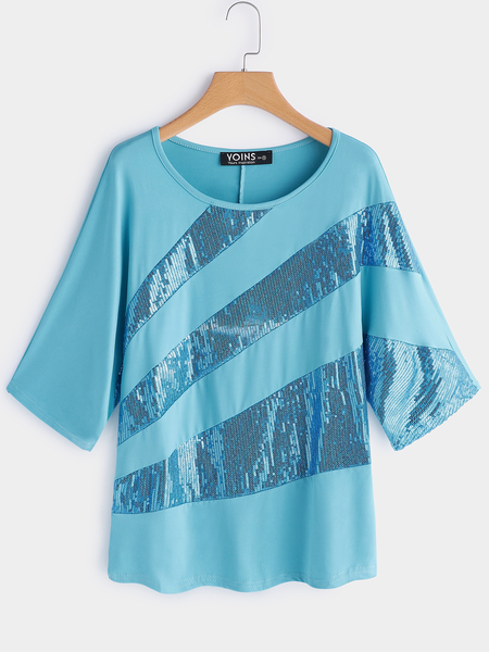 Yoins Blue Sequins Embellished Round Neck Bat Sleeves T-shirt
