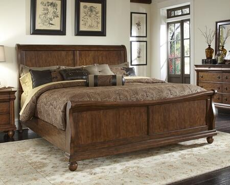 Rustic Traditions Collection 589-BR-KSL King Sleigh Bed with Bun Feet  Classic Louis Philippe Styling and Center Supported Slat System in Rustic