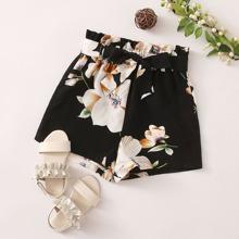 Maedchen Shorts mit Papiertasche Taille, Selbstband und Blumen Muster