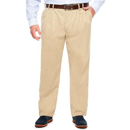 IZOD Sportflex Waistband Stretch Pleated Chino Pants-Big & Tall, 52 32, Beige