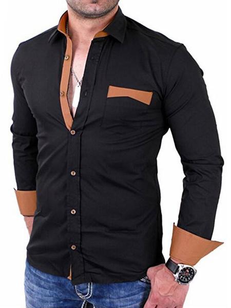 Milanoo Men Black Shirt Two Tone Slim Fit Long Sleeve Casual Shirt