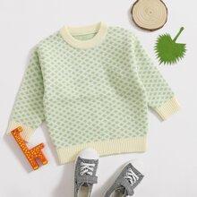 Toddler Girls Argyle Pattern Round Neck Sweater