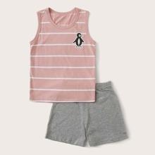 Toddler Girls Penguin & Striped Print PJ Set