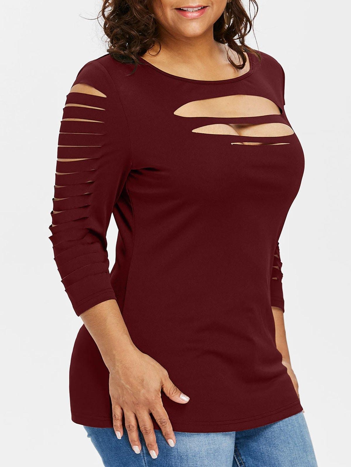 Plus Size Three Quarter Sleeve Ripped T-shirt