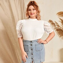 Plus Frilled Neck Dot Mesh Puff Sleeve Top