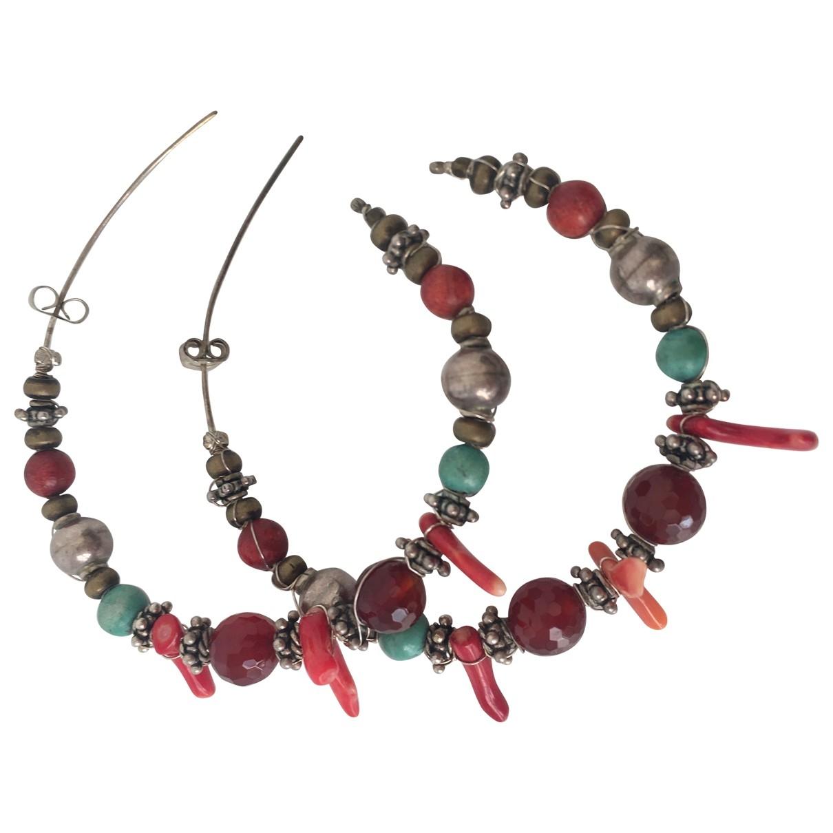 - Boucles doreilles Motifs Ethniques pour femme en metal - rouge