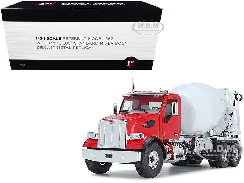 Peterbilt 567 with McNeilus Standard Mixer Red and White 1/34 Diecast Model by First Gear