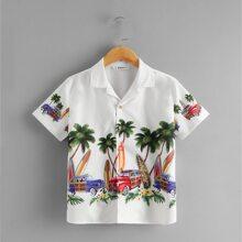 Jungen Hemd mit eingekerbtem Kragen, Auto und tropischem Muster