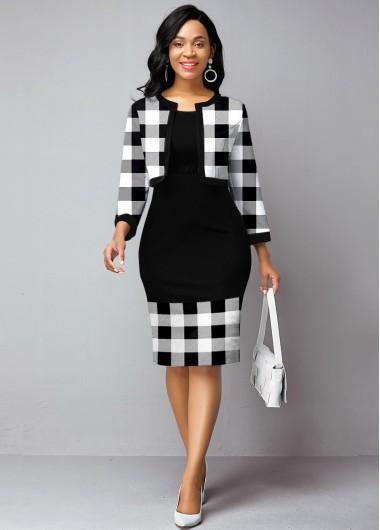 Black Dresses Plaid Print Open Front Cardigan and Sheath Dress - L
