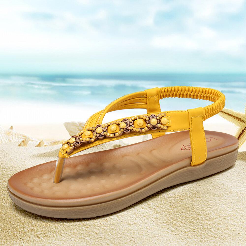 LOSTISY Knitted Rhinestone Decor Summer Clip Toe Flat Sandals