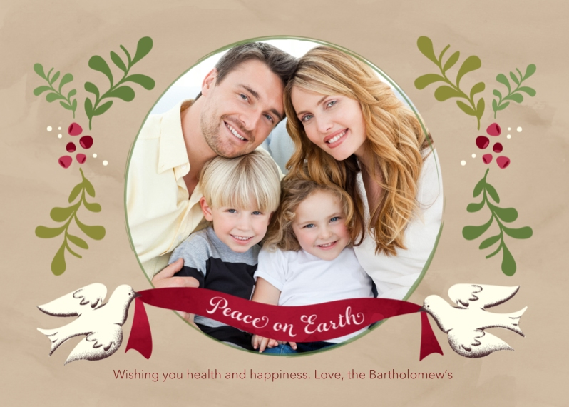 Christmas Photo Cards 5x7 Folded Cards, Premium Cardstock 120lb, Card & Stationery -Peace on Earth