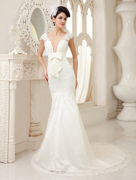 Milanoo Sexy Ivory Mermaid V-Neck Bow Lace Sweep Bridal Wedding Gown