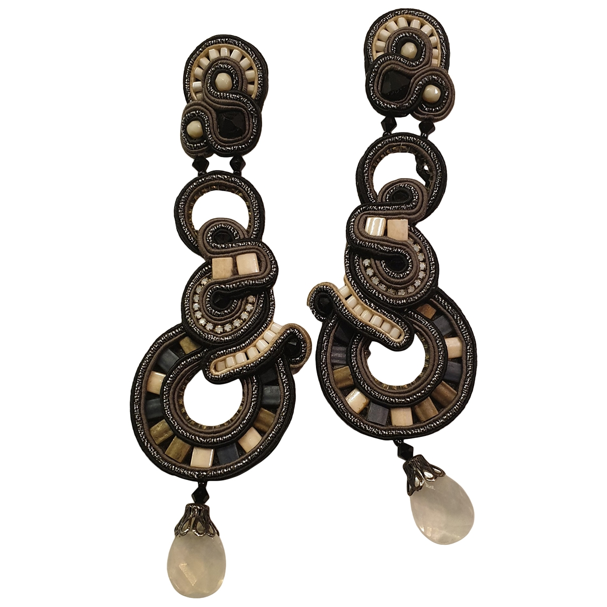 - Boucles doreilles   pour femme en cuir - noir
