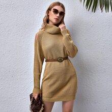 Schulterfreies Pullover Kleid mit Rollkragen ohne Guertel