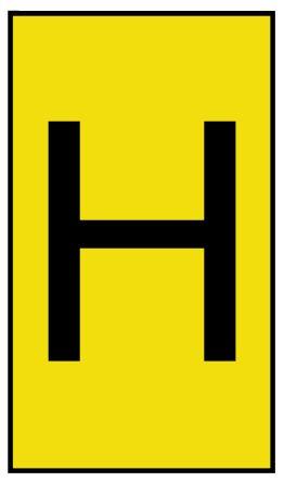 HellermannTyton Ovalgrip Slide On Cable Marker, Pre-printed H Black on Yellow 1.7 → 3.6mm Dia. Range