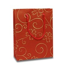 Red Floral Swirls Kraft Euro Tote - 7-1/2 X 3-1/8 X 9-5/8 - Gusset - 3 1/8 - Quantity: 500 by Paper Mart
