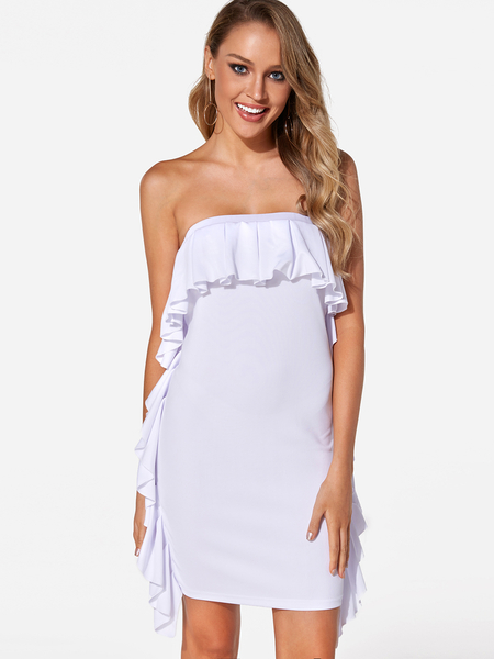 Yoins White Fold Over Flounced Details Strapless Party Dresses